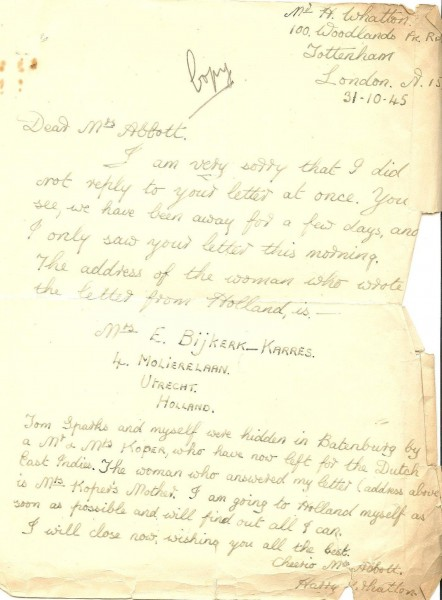 Abbott_Norman_William_Stanley_letter_31_Oct_1945